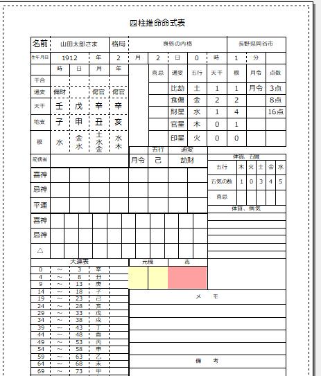 印刷プレビュー画面での命式表です。こんな感じで印刷されます。